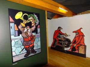 Z výstavy kresleného humoru Jiřího Neprakty, foto: Mgr. Ivana Paseková/infocentrum Spálené Poříčí